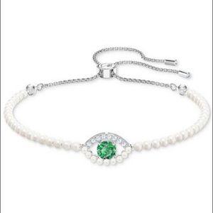 Swarovski Pearl Evil Eye Slider Bracelet